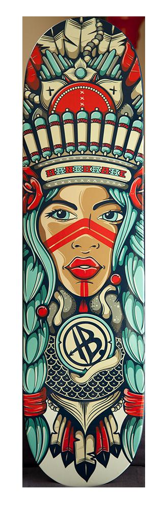 Pocahontas skateboard deck - Handbrake Design Perth Australia